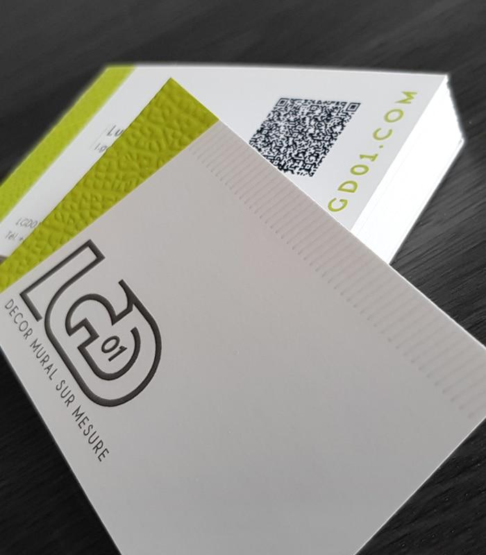 Cartes de visite réalisées par Enseignes 01