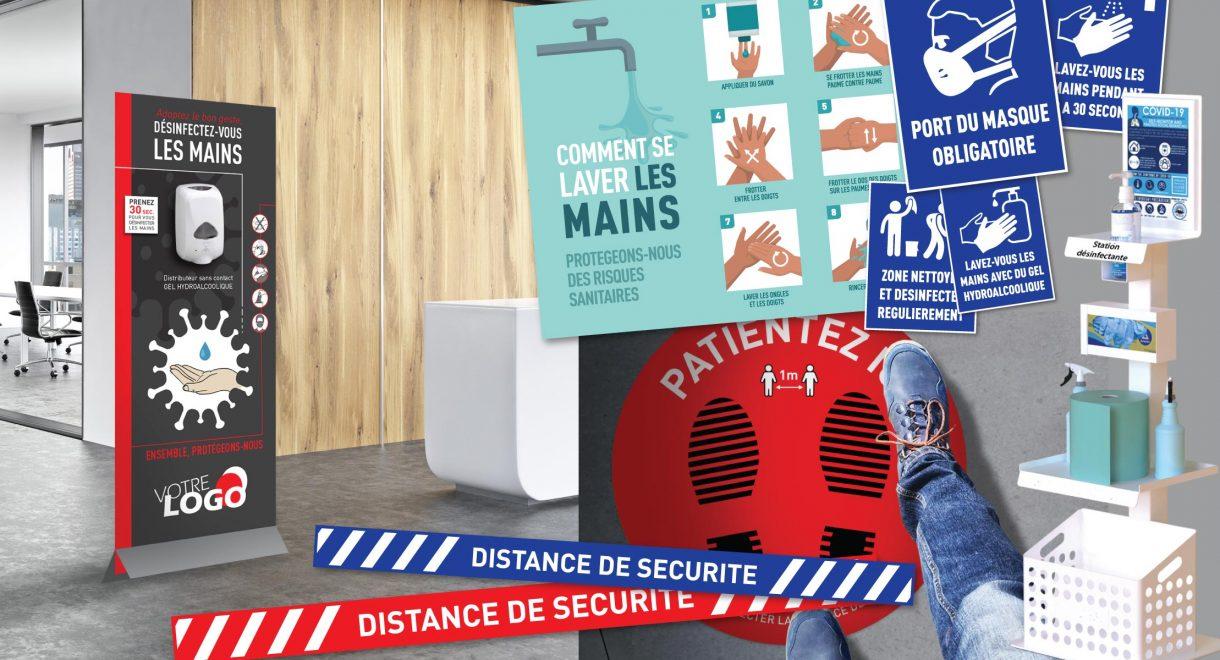 ENSEIGNES 01 vous propose des solutions de signalétique pour la prévention contre le virus et le bon respect des mesures barrières.